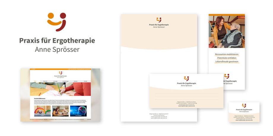 Print- und Webdesign für eine Ergotherapeutin (Signet, Geschäftsausstattung, Flyer, Website)