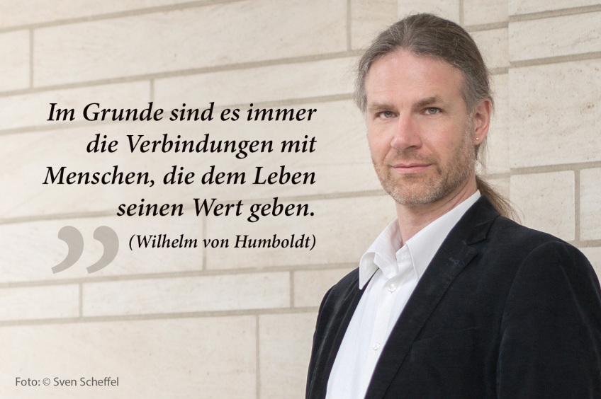 David Hollstein mit Slogan