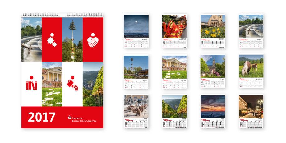 Gestaltung des Jahreskalender für die Kunden der Sparkasse Baden-Baden Gaggenau